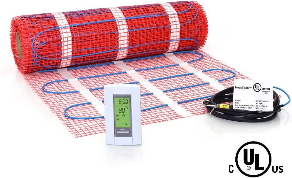 40 sqft Mat Kit, 120V Electric Radiant Floor Heat Heating System w/Aube Programmable Floor Sensing Thermostat