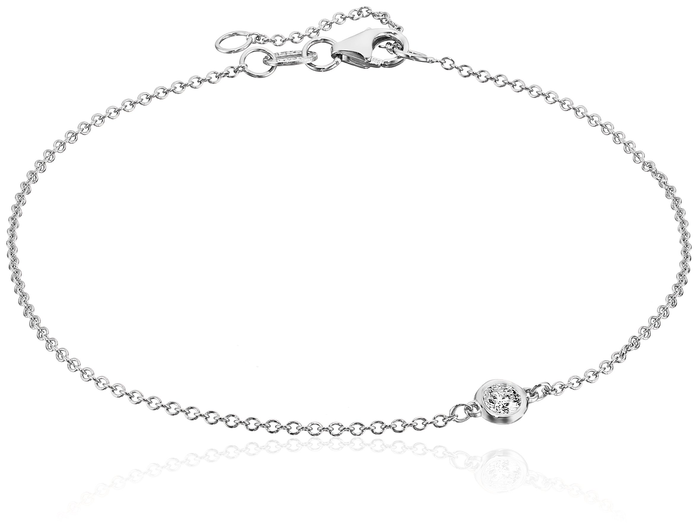 14k White Gold Solitaire Bezel Set Diamond with Lobster Clasp Strand Bracelet (1/10cttw, J-K Color, I2-I3 Clarity) by Amazon Collection