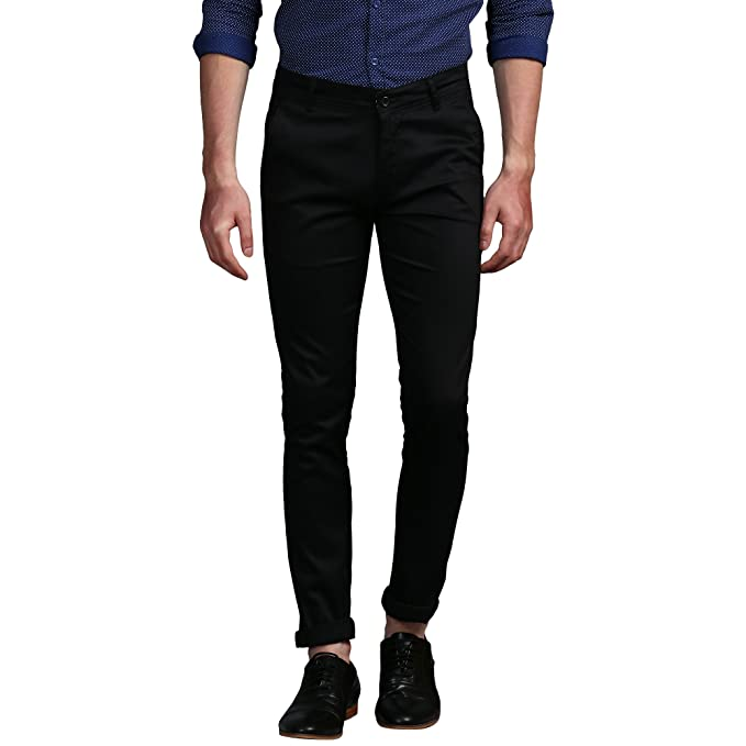 2019 hot sale Official Website los angeles Oshano Men's Black Poly Viscose Plain Slim Fit Casual Formal Trouser Chinos  Pant for Everyday