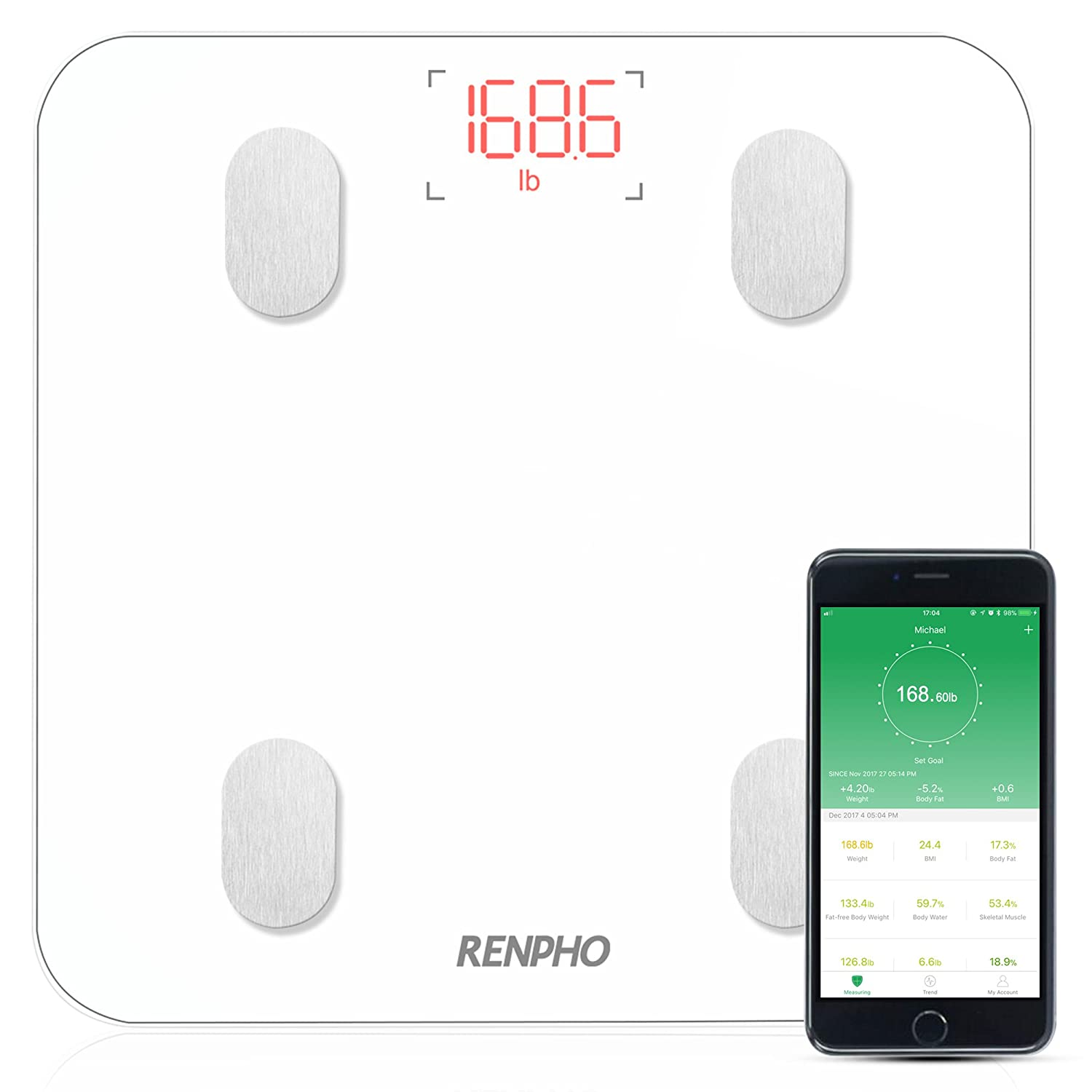 RENPHO Bluetooth Body Fat Scale with iOS and Android APP Smart Digital Bathroom Scale for Body Weight, Body Fat,Body Water, Skeletal Muscle,Muscle Mass,Bone Mass, Protein,BMI,BMR, Metabolic Age