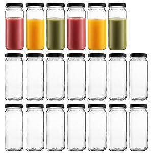 Glass Bottles 16oz, Maredash 20 Pack Clear Glass Storage Bottles with Black Lids
