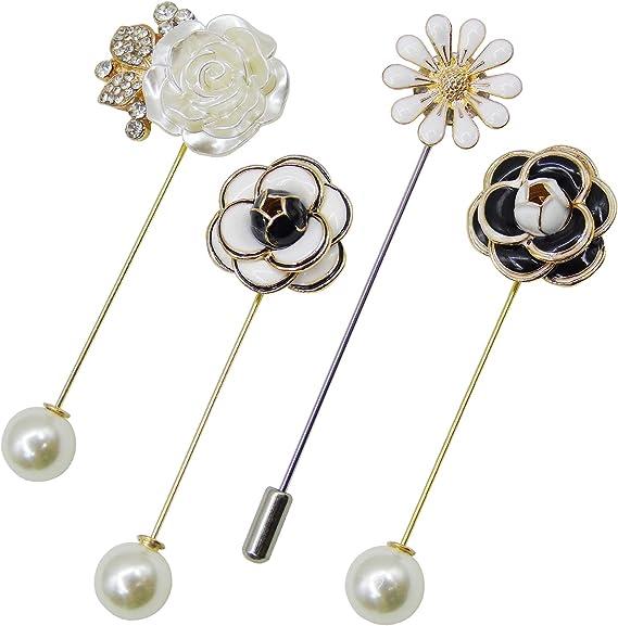 EXCEART 6 Piezas Perla de Seguridad Perla Decoraci/ón de La Boda Cuello Chal Camisa Pin Su/éter Broches Broche de Moda para Mujer Blanco