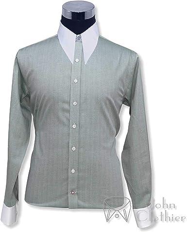 1940s 1950s Hombre Spear Cuello de Punto Camisas Verde Liso Estilo Antiguo Vintage Manga Larga 100% Cotton Ajuste Holgado 100-27 - Verde, 17.5: Amazon.es: Ropa y accesorios