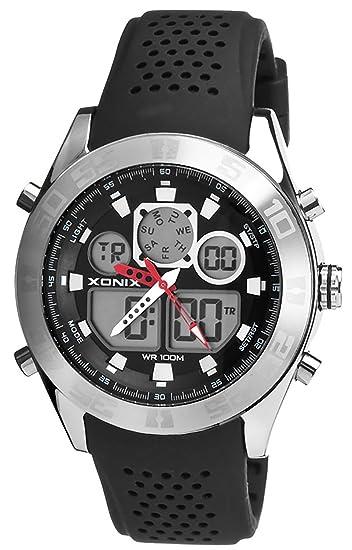 Increíble Reloj Xonix para Hombres,LCD/Analógico,Acero Inoxidable,Resistente al agua