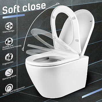 Amzdeal Tapa de wc, Tapa de inodoro con cierre suave y lenta, Asiento de inodoro de plástico duro, Tapa de asiento de wc con sencilla instalación, ...