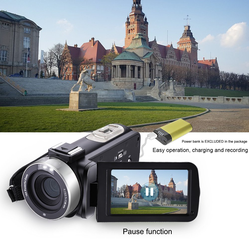 Camcorder Video Camera Full HD 1080p 24.0MP Digital Camera External Microphone Video Recorder Night Vision Webcam with Remote Control by COMI (Image #3)