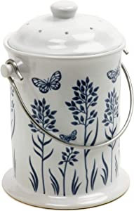 Norpro 83 Ceramic Floral Blue/White Compost Keeper, 3-Quart