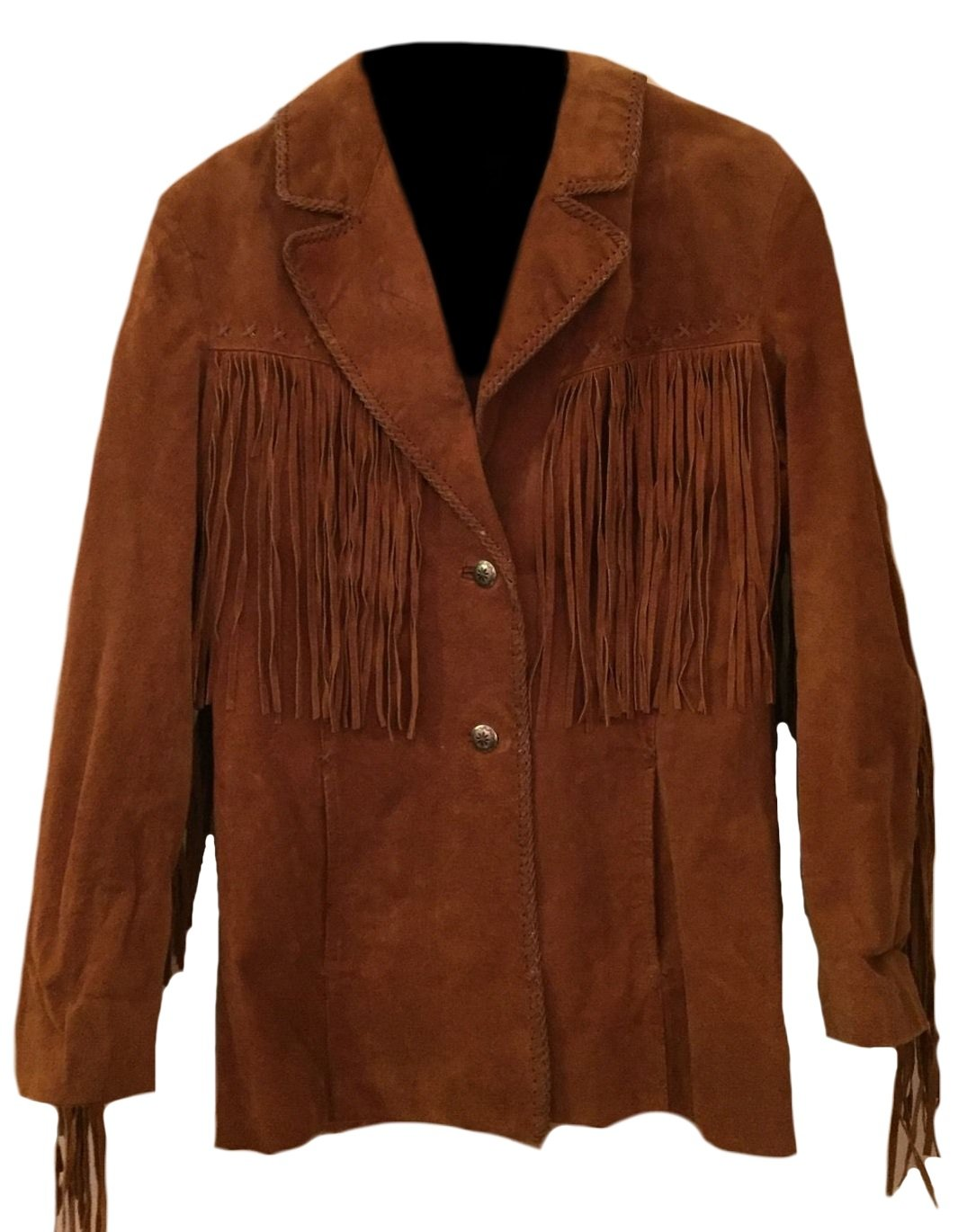 Classyak Men's Western Top Quality Suede Coat with Fringes Suede Brown 3X-Large