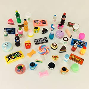 happyblockbuilder LPS Accessories Miniature Dollhouse Compatible with Littlest Pet Shop and Barbie Food Drink Craft Sets Random Gift Bag Lots; Pets NOT Included (Food 6pc.)