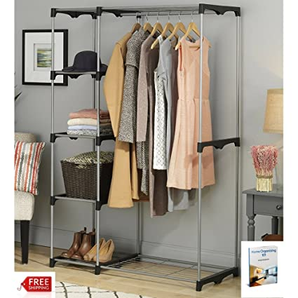 Bon Free Standing Closet Systems Organizer Clothing Portable Double Wire Large  Wardrobe In Bedroom Storage Adjustable Rod