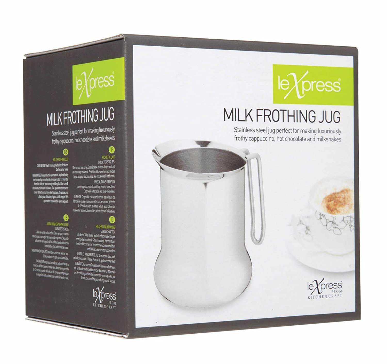 Kitchen Craft 650 ml Le Xpress Milk Frothing Jug, Stainless Steel, Silver, 9 x 12 x 16 cm Brandcentre KCLEJUG
