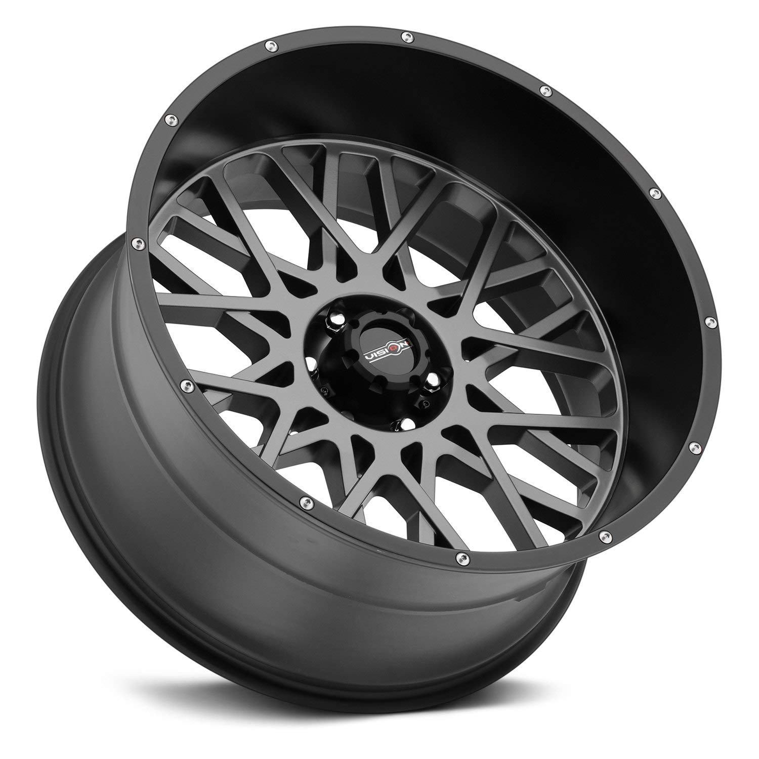 Rim 5x5.5 with a Partnumber 412-20285ABL-51 Vision Rocker 20x12 Gray Black Wheel 51mm Offset and a 108 Hub Bore