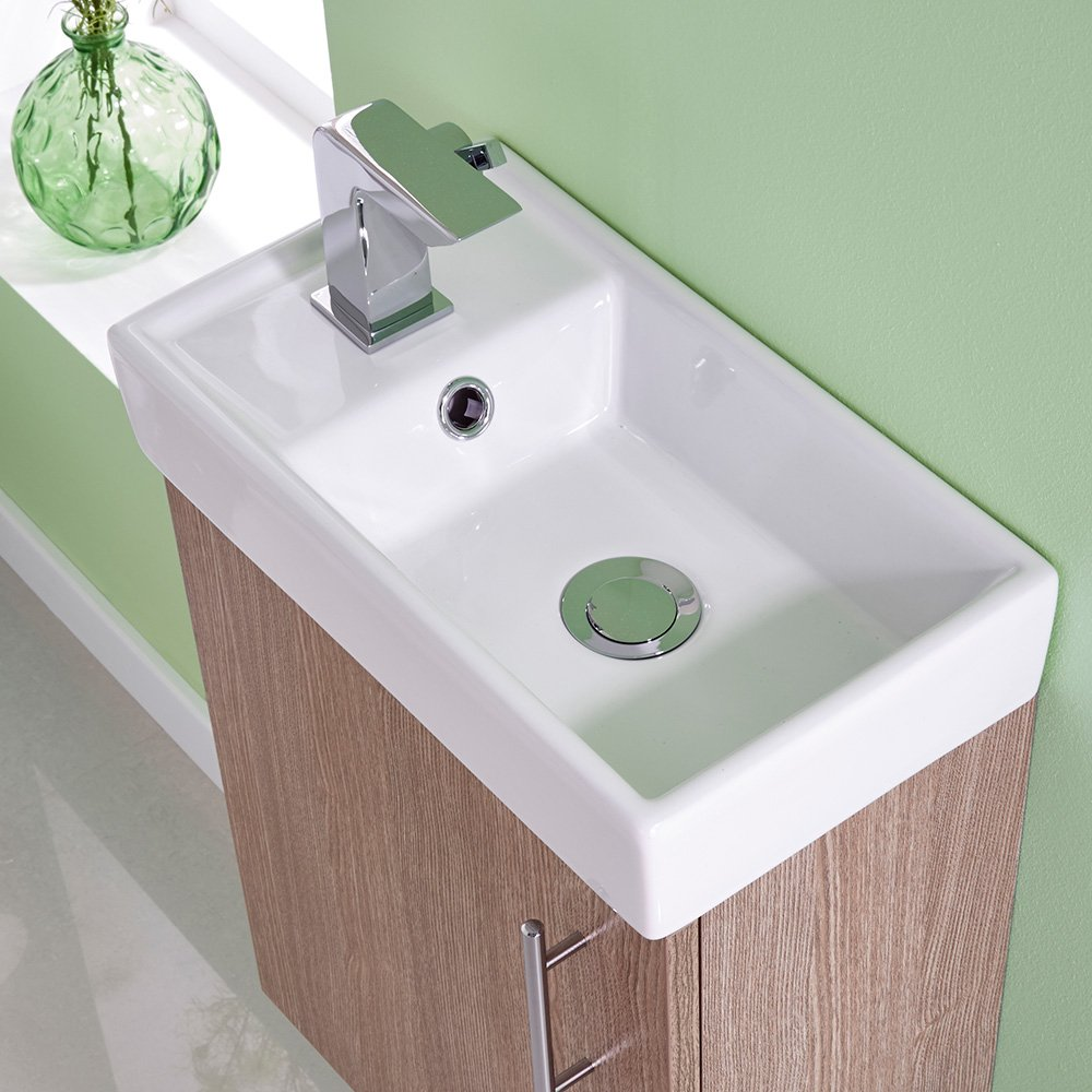 small vanity unit with sink. Premier NVX882 400 Mm Minimalist Wall Hung Unit And Basin  Light Oak Amazon Co Uk DIY Tools