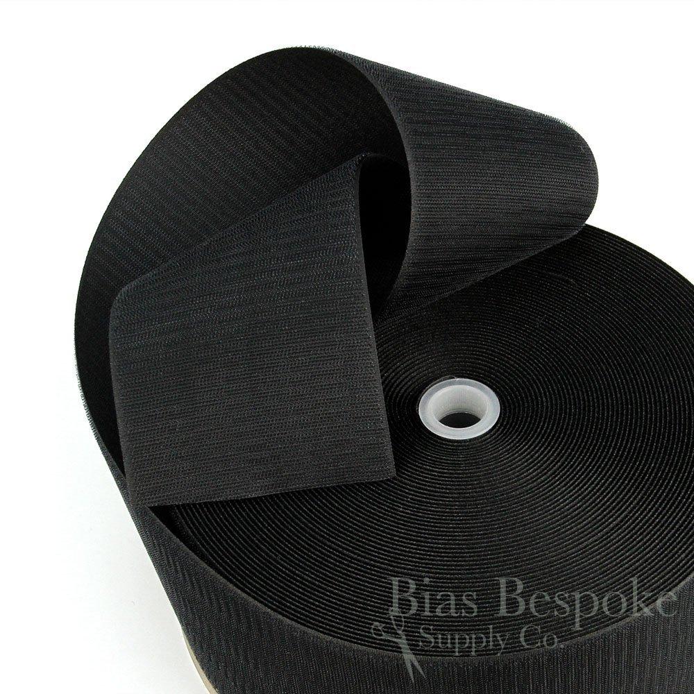 27 Yard Rolls of Black Sew-on Hook and Loop Fastening Tape, 4'' Wide by Bias Bespoke