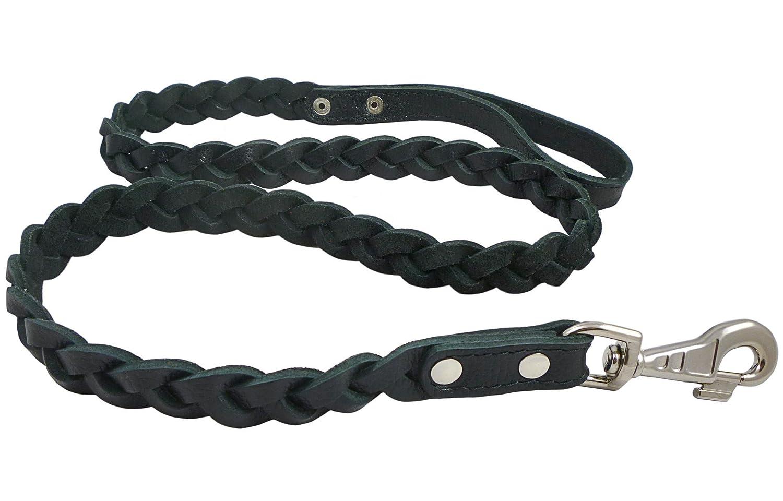 Genuine Fully Braided Leather Dog Leash 4 Ft Long 1 Wide Black Large Breeds