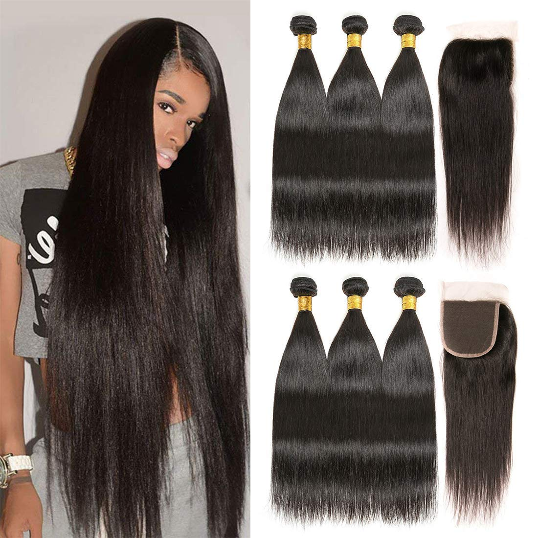 Brazilian Straight Hair 3 Bundles With Closure 8A 100% Unprocessed Virgin Brazilian Human Hair Weave Weft With 4×4 Lace Closure Natural Black Color (18 20 22+16, Free Part)