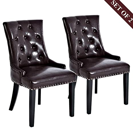 Pleasing Amazon Com Leather Dining Chairs Upholstered Dining Chairs Bralicious Painted Fabric Chair Ideas Braliciousco
