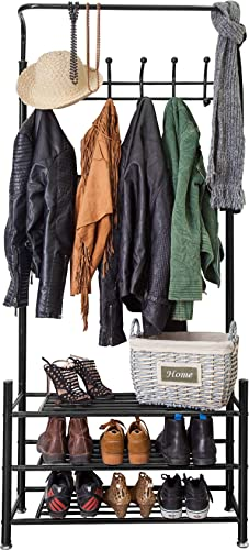 M.S.PREMIUM Metal Coat Rack and Shoe Organizer for Entryway – Hang Your Coats, Hats, Umbrellas, Bags, Boots and Shoes on This Heavy Duty, Durable Metal Coat Stand for a Tidy Hallway Always – Black