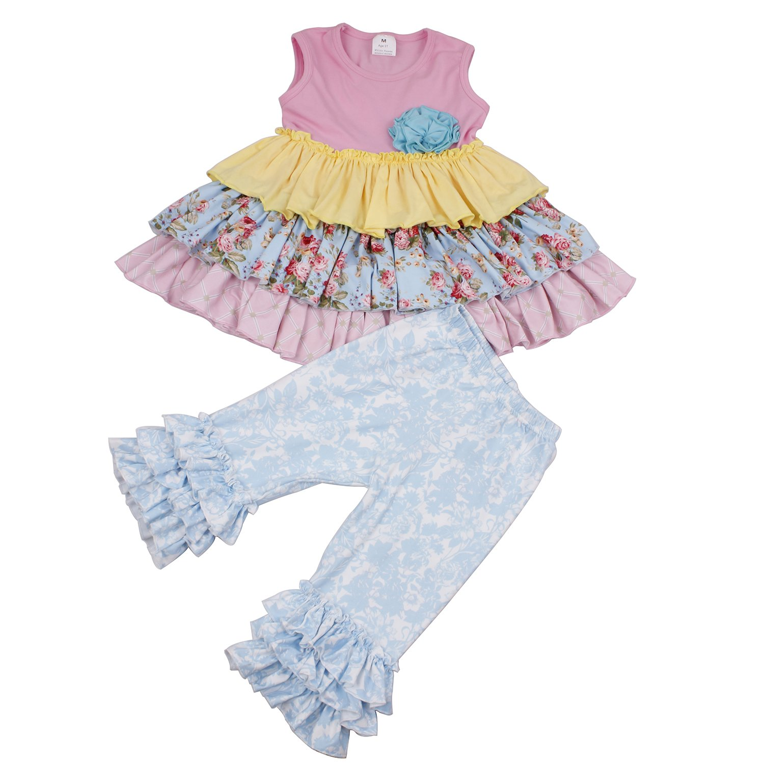 Yliyang Kids Girl 2 Pieces Summer Dress Set Cute Ruffles Dress Pants Outfit Set