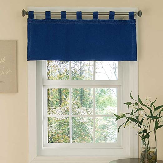 Amazon Com Denim Tab Top Valance Blue 57x18 Home Kitchen