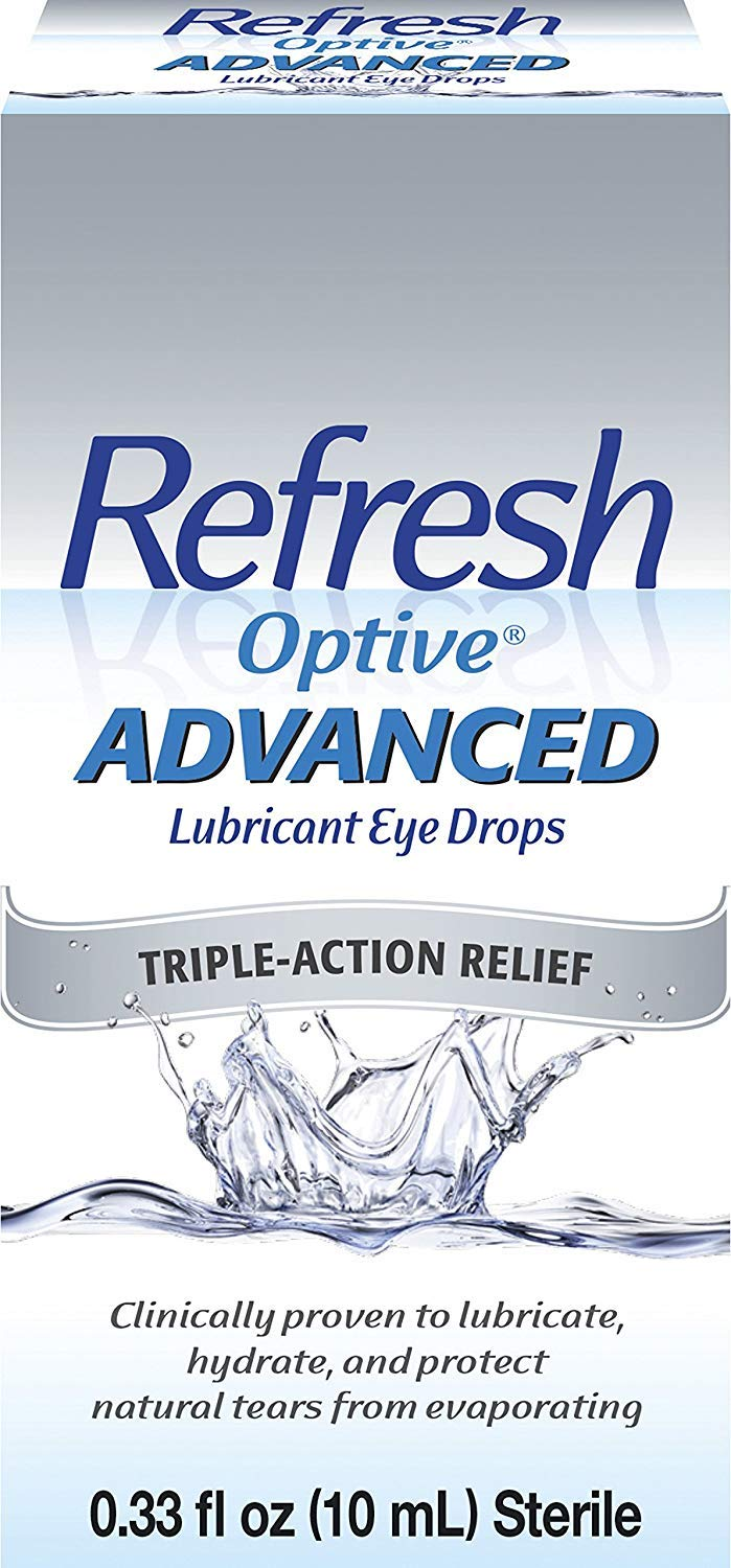 Refresh Optive Advanced Lubricant Eye Drops, 0.33 fl oz (10mL) Sterile, Value-Size (Pack of 2)