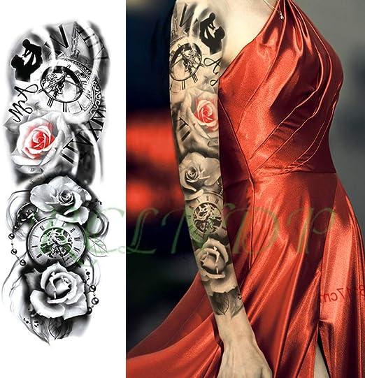 tzxdbh 7Pcs-Etiqueta engomada del Tatuaje Impermeable Flor Reloj ...