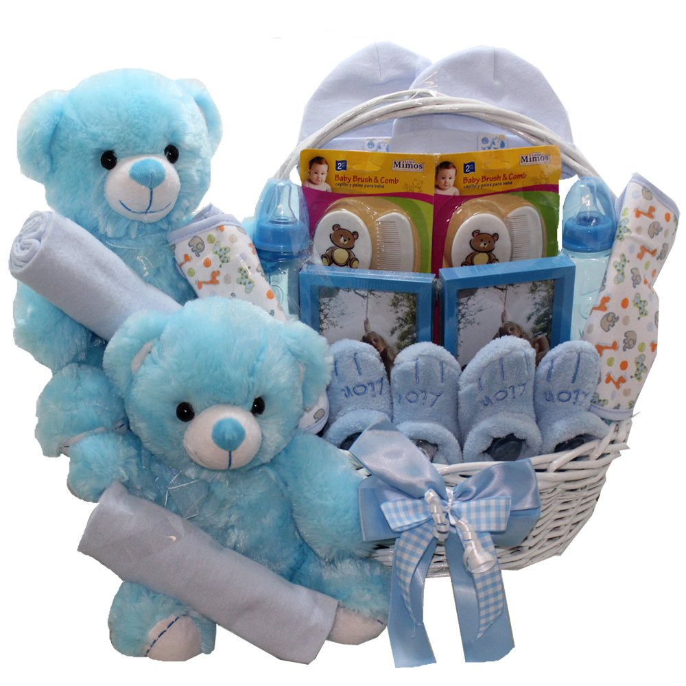 Amazon.com : Double The Fun Twin New Baby Gift Basket, (2) Blue ...
