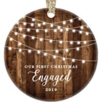 """Engagement Keepsake Gifts 2019 First Christmas Engaged Ornament Newly Engaged Couple 1st Holiday Rustic Farmhouse Woodgrain Present 3"""" Flat Circle Porcelain with Gold Ribbon & Free Gift Box"""