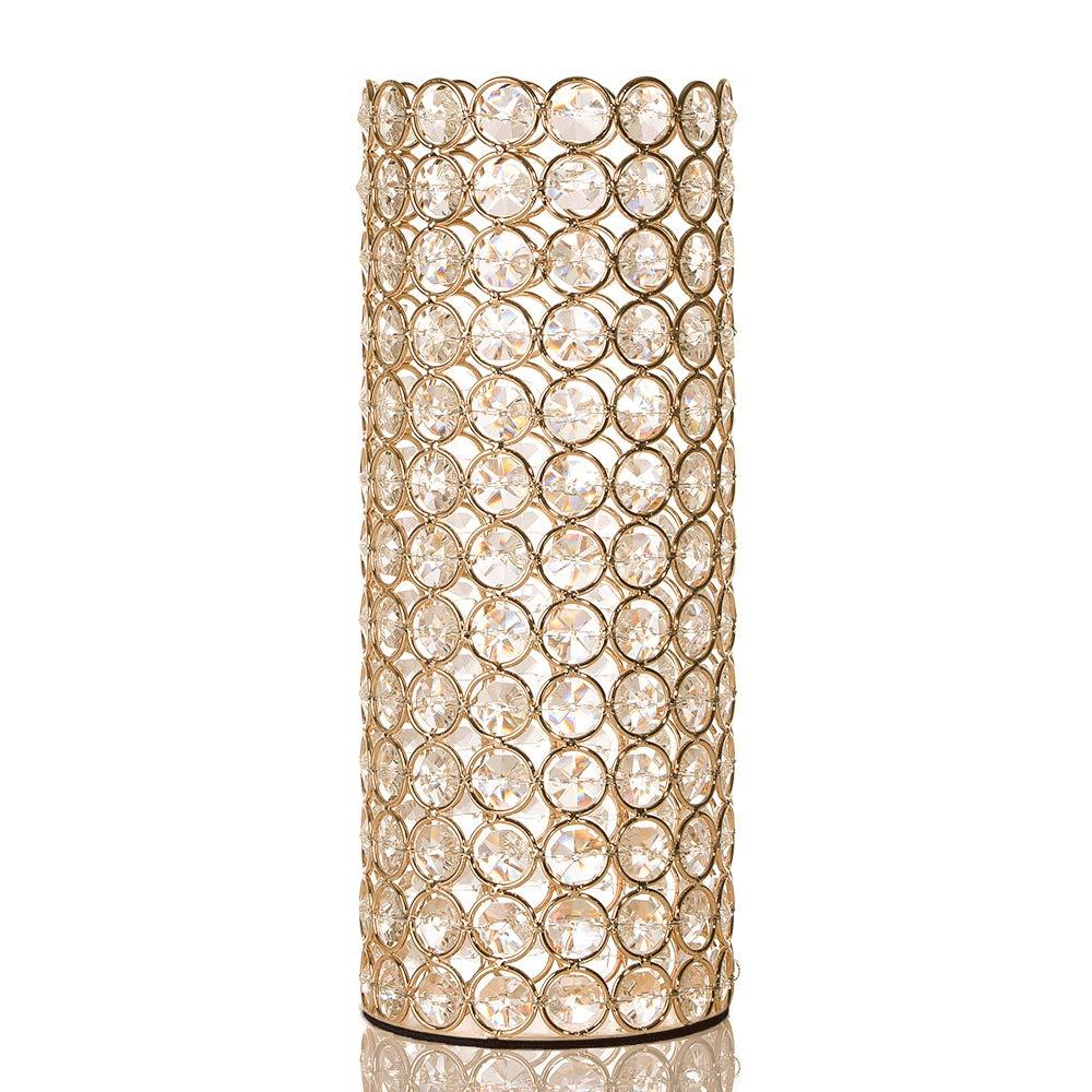CDM product VINCIGANT Gold Hollow Crystal Tealight Candle Holders/Decorative Floor Vase for Mother's Day Wedding Dinner Decor big image