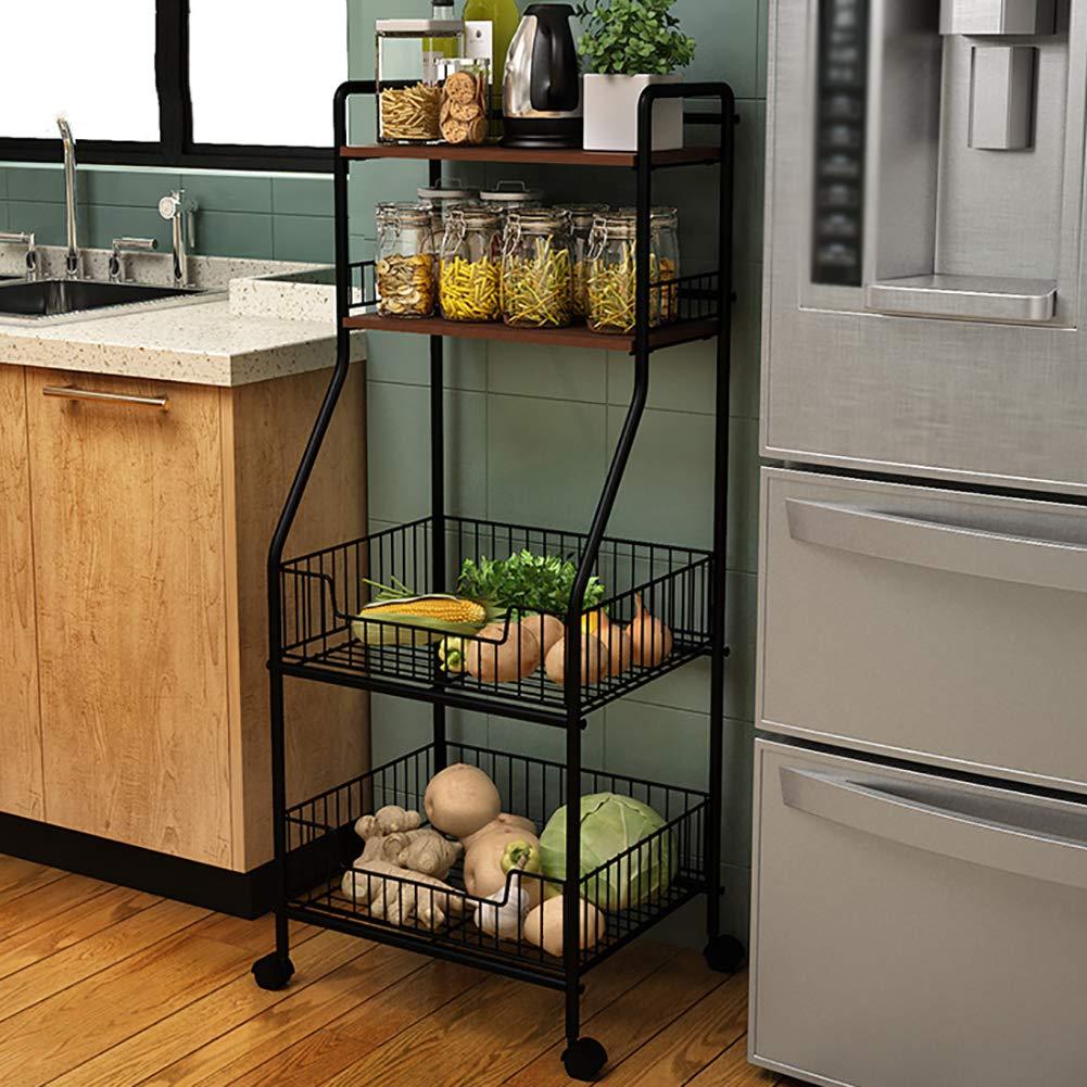 Kitchen Rack Storage Rack, Floor Multi-Layer Vegetable Seasoning Bowl Pot Storage Shelf, Multi-Function Caster(4234.5114cm) by Kitchen Cart (Image #5)