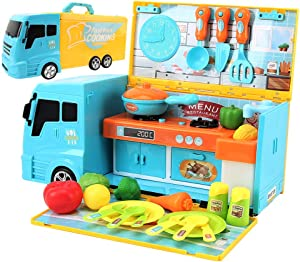 BeebeeRun Food Truck for Kids ,2 in 1 Food Toy + Kitchen Truck with Realistic Cooking Food Lights & Sounds,33 PCS Toy Kitchen Accessories Set for Kids Girls