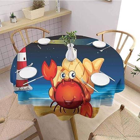 DILITECK - Mantel Redondo Decorativo con diseño de cangrejos y ...