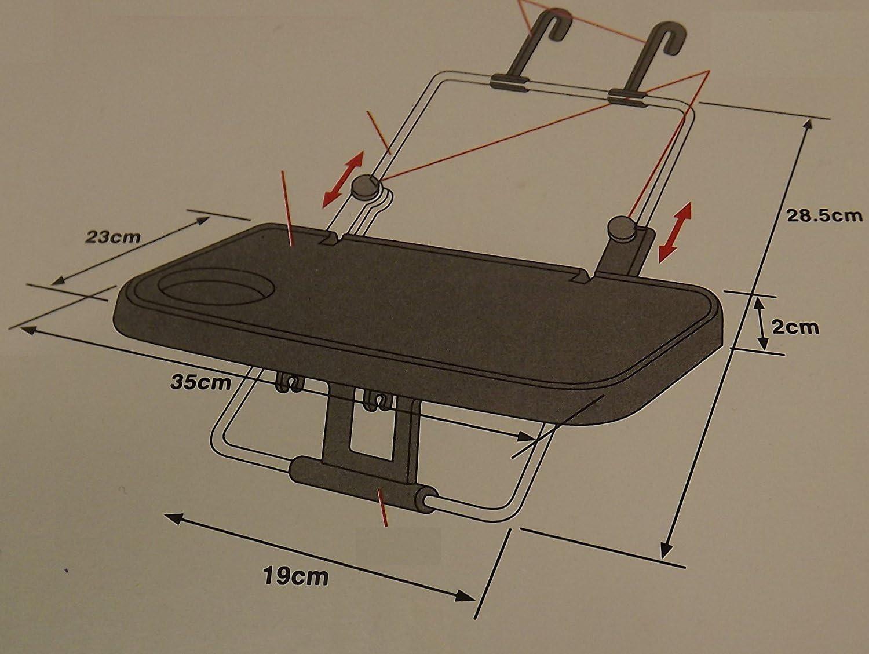 taza de rueda bandeja de mesa Silla de viaje multiusos de acero para asiento trasero de coche soporte para LAPTOP AC09 En Carvan