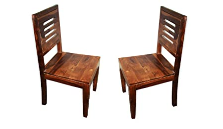 KINGWOOD FURNITURE Dining Chair in Sheesham Wood with Walnut Finish - Set of 2