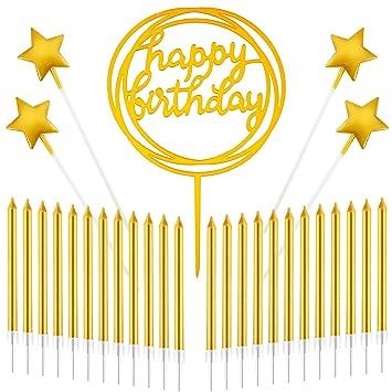 Mudder Barro 29 Cake Topper de Oro Vela de Celebracion Happy ...