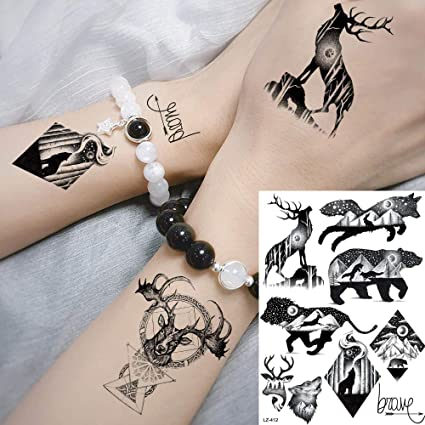 MRKAL Tatuaje Falso Tatuaje Galaxy Negro Planetas Animales ...