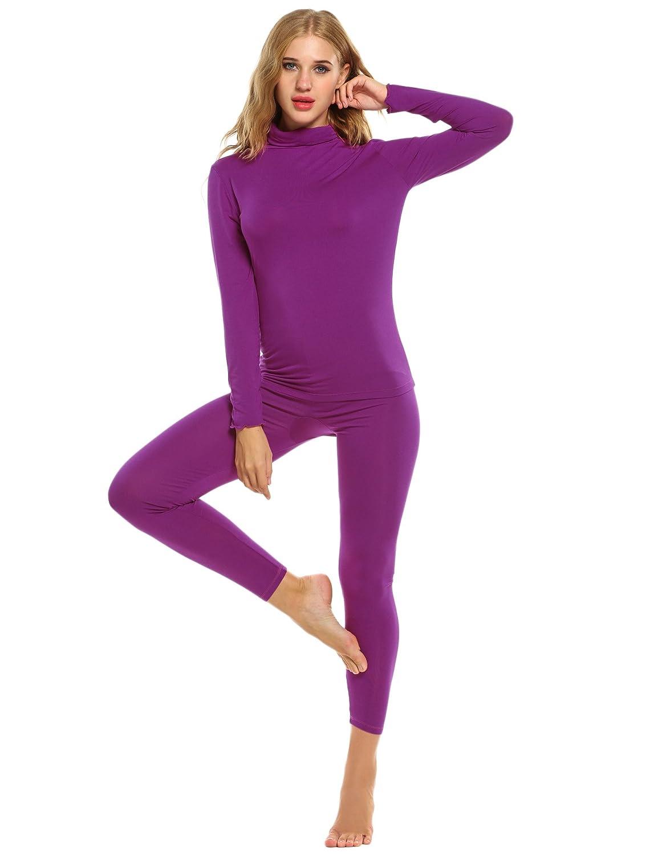 Ekouaer Women Thermal Underwear Set Solid Turtleneck Long Sleeve Top and Long Pants Bottom Sleepwear CBK047761
