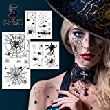 Halloween Face Tattoos, Spider Temporary Tattoos, Halloween Temporary Sticker Costume Makeup Tattoos Kit, 5 Sheets…