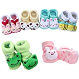 Clastik Cartoon Face Socks for Baby Girl and Boy (0-6 Months),Multicolor