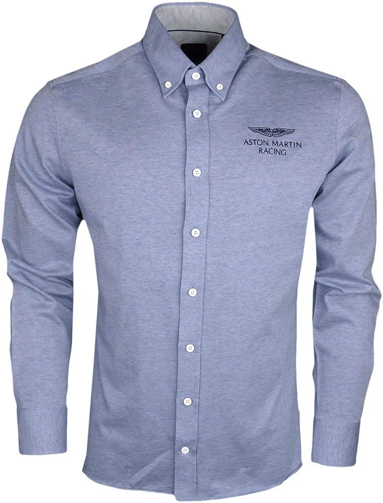Hackett - Camisa de algodón para Hombre, Color Azul Azul S: Amazon.es: Ropa y accesorios