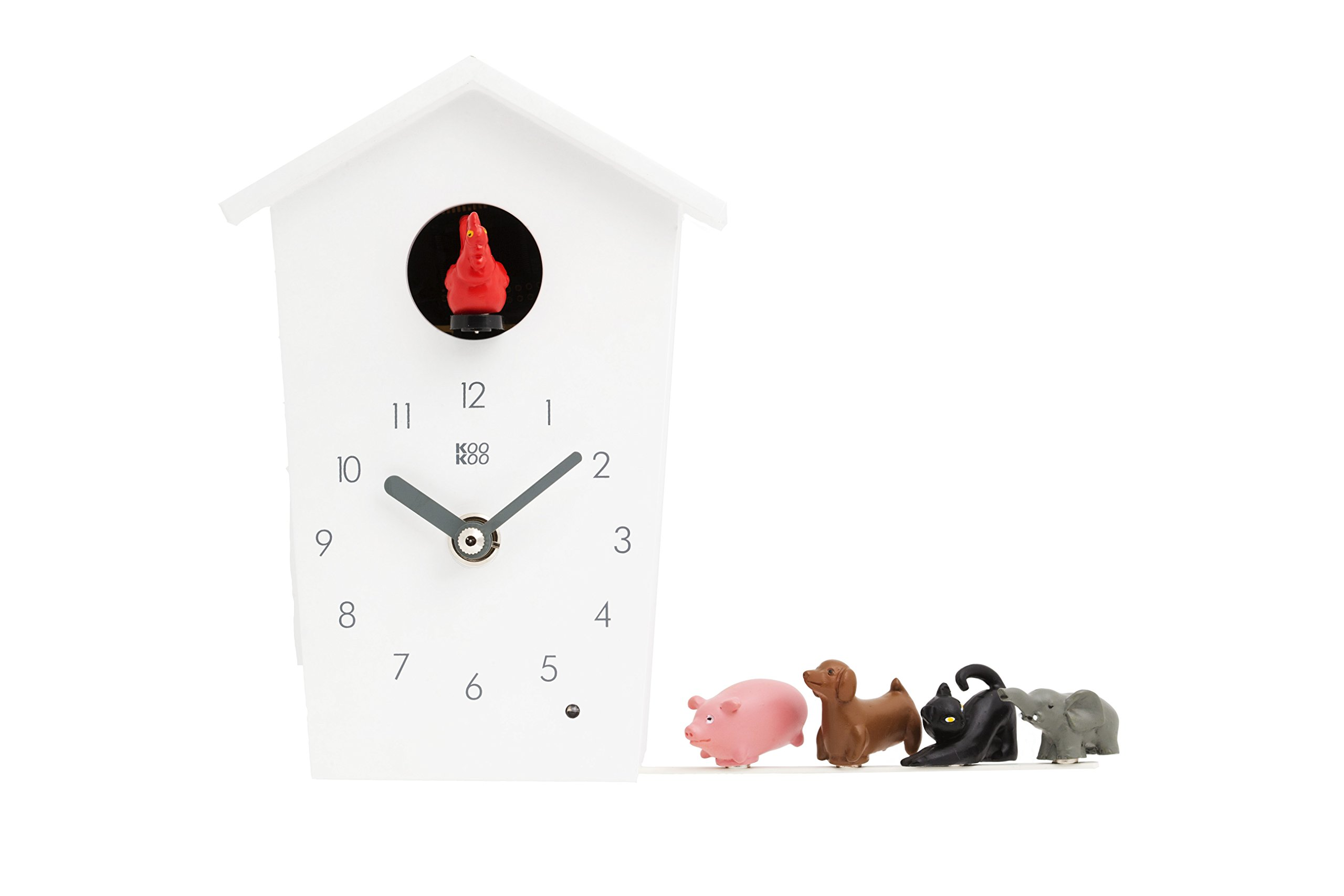KOOKOO AnimalHouse White, Cuckoo Clock, Wall Clock with 5 Farm Animals, Field Recordings from Nature, Modern Design Sleek Clock