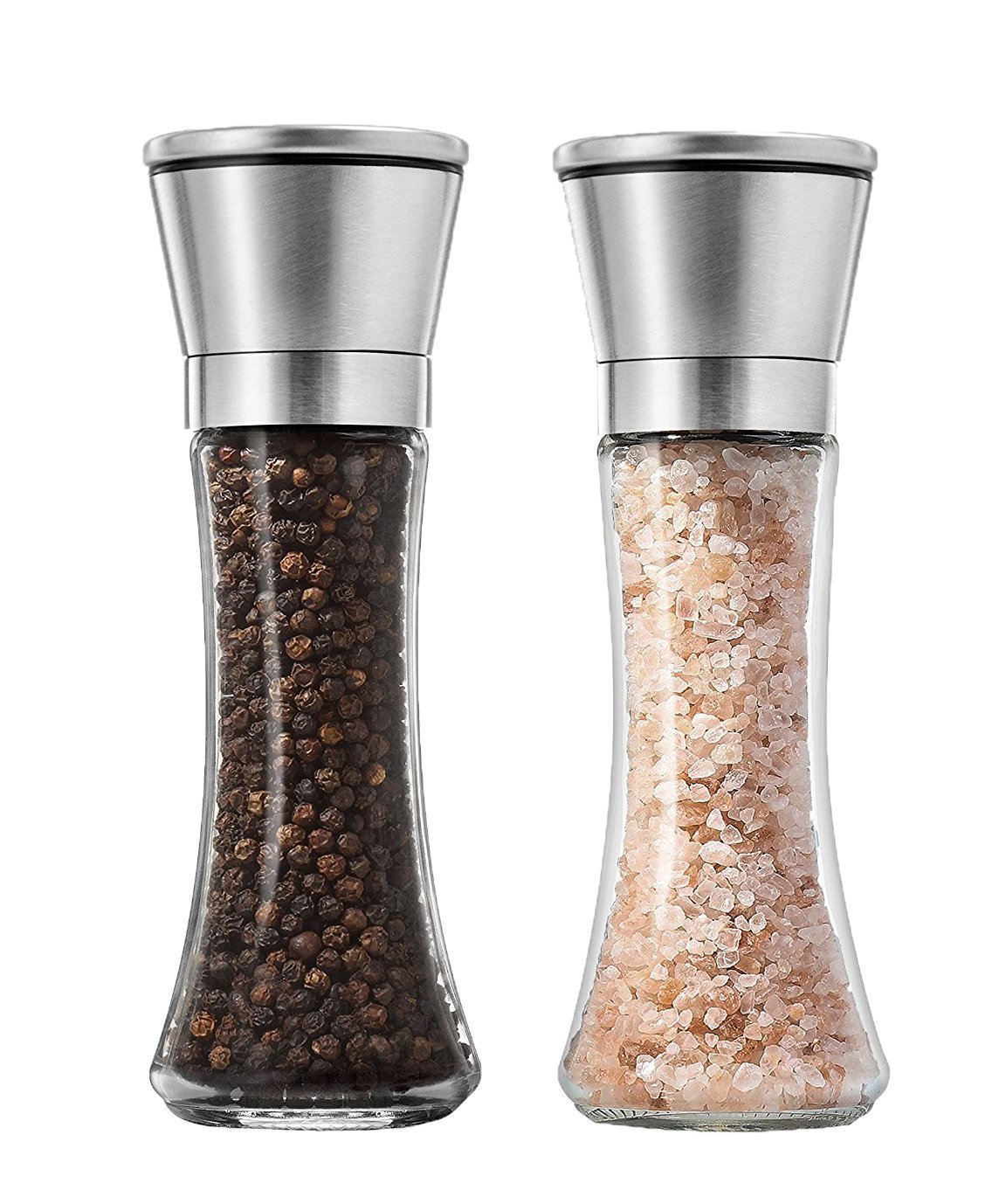 XIYIXIFI Premium Brushed Stainless Steel Salt and Pepper Grinders, Salt and Pepper Shakers, Salt Grinder with Adjustable Coarseness, Salt and Pepper Mills, 6.5 Oz Glass Tall Body, Set of 2