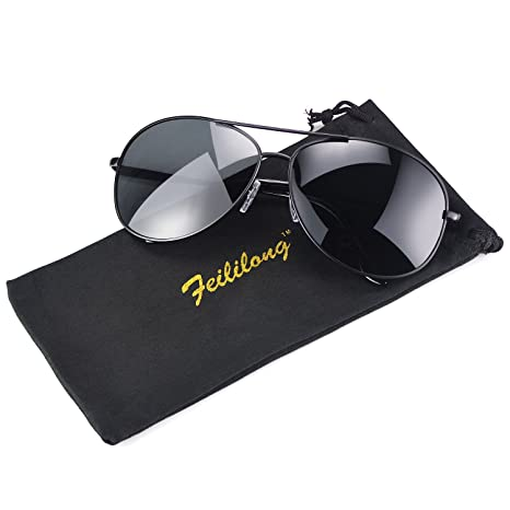 Feililong - Gafas de sol tipo aviador (protección UV400, unisex, espejadas) Schwarze Linse / Schwarze Rahmen