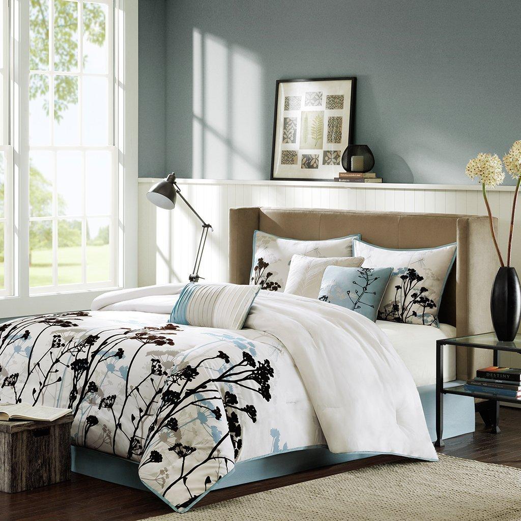 Madison Park Matilda 7 Piece Comforter Set, California King, Blue MP10-512
