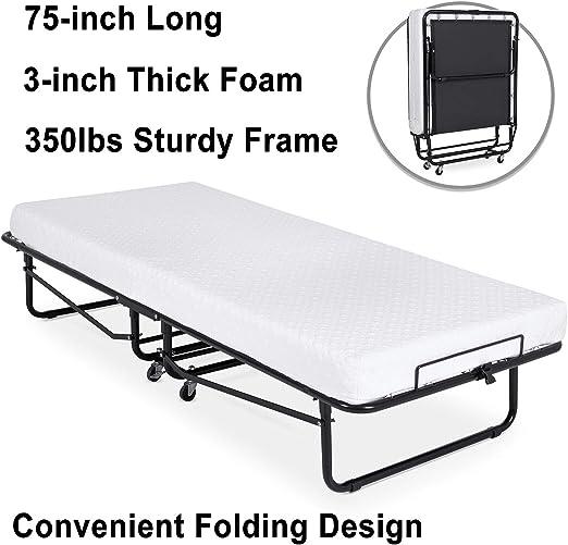 Linon Home Dcor Luxor Memory Foam Folding Bed Mattress Beige Cot