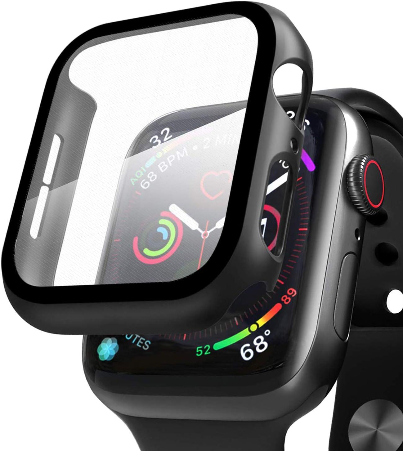 Qianyou Compatible con Apple Watch 44mm Serie 5/Serie 4 Funda + Cristal Templado, PC Case y Vidrio Protector de Pantalla Integrados, Slim Cover de Bumper y Protector Pantalla (Negro)