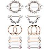 Cisyozi 6 Pairs-8 Pairs 14G Stainless Steel Screw Nipple Tongue Shield Ring Barbell Body Piercing Jewelry Retainer 9/16…