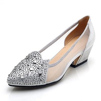 AdeeSu Sandales Compensées Femme Argenté Silver, 38.5 EU, SDC04453