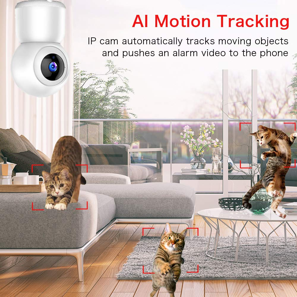 C/ámara de Vigilancia WiFi Mibao 1080P C/ámara IP Inal/ámbrica Audio Bidireccional Monitor para Beb/é//Mascota Detecci/ón de Movimiento Remoto HD Visi/ón Nocturna Alarma de Correo Electr/ónico