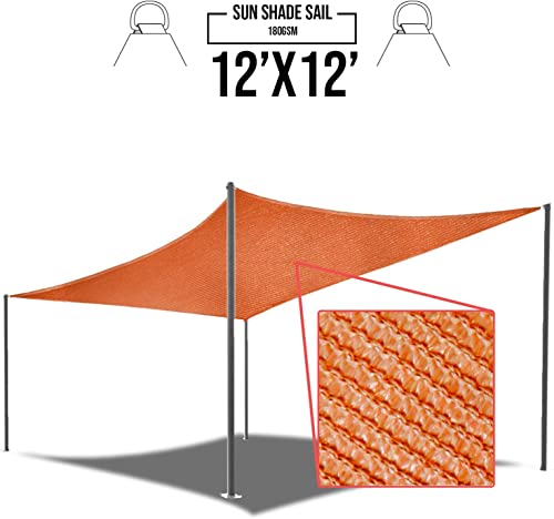 E K Sunrise 12 x 12 Orange Sun Shade Sail Square Canopy – Permeable UV Block Fabric Durable Patio Outdoor Set of 1